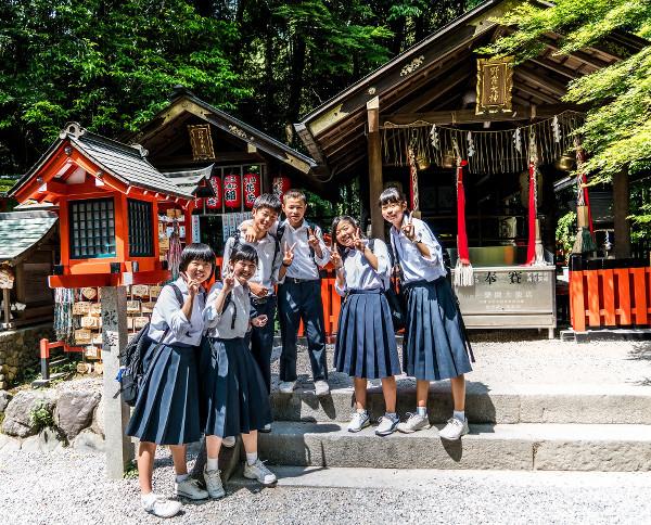 groupe d'élèves japonais