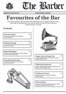 Il menù cocktail di The Barber Shop
