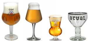 """La classica forma """"a tulipano"""" dei bicchieri di birra"""