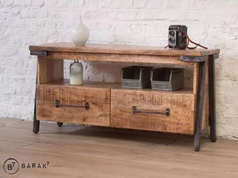meuble tv bois metal retro archi 120 cm