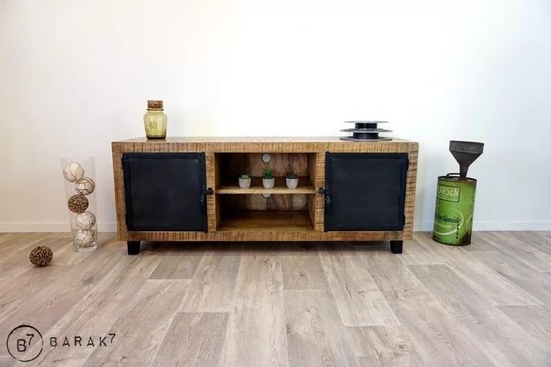 meuble tv bois metal brooklyn 150 cm