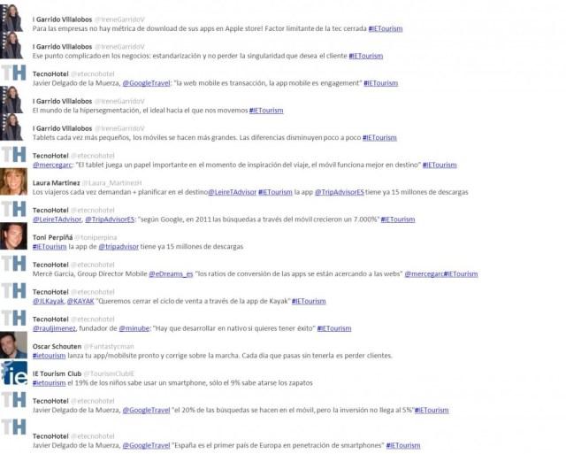 Tweets de la jornada #ietourism