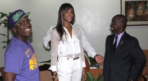 Bajan recording artist Shontelle with Minister Stephen Lashley (2nd right).