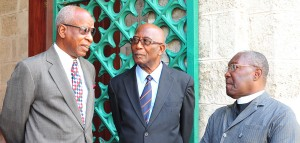 (L-R) Senators Tony Marshall, Alwyn Adams and Senate chaplin Rev. Errington Messiah.