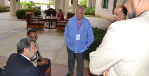 Prime Minister of St Vincent and the Grenadines, Dr Ralph Gonsalves, (left), Minister of Foreign Affairs and Foreign Trade, Senator Maxine Mc Clean and former Chairman of the West Indian Commission, Sir Shridath Ramphal relax during a break in the deliberations at Hilton Barbados Resort.