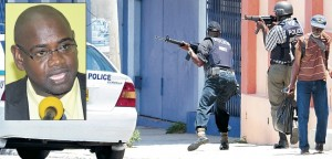 Cops on the move during a Kingston operation. Inset, chairman of the Jamaica Police Federation Sergeant Raymond Wilson.