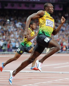 Usain Bolt (right) and Yohan Blake both beaten over the weekend in the 400m.