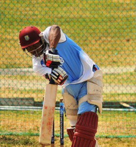 Christopher Barnwell in the nets today in Antigua.
