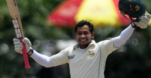 Mushfiqur Rahim celebrates his and Bangladesh's first Test double century.