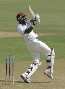 Raymon Reifer pulls to the boundary during his half- century today.