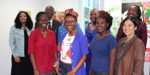 Artists (from front left) Nyssa Haynes- Holder, Sheena Rose and Versia Harris with UN and women's organisation leaders.