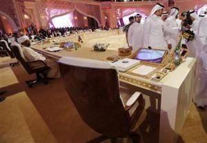 Gathering of Arab heads of state at Qatar summit.