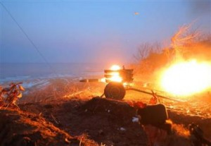 Test-firing missile in North Korea yesterday.