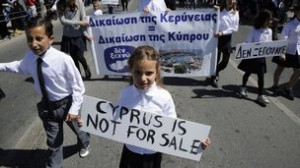 Young Cypriots march in protest.