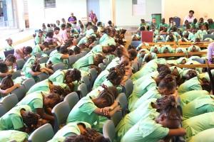 Children in prayer.
