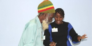 Mike Hinkson of the Organic Growers Association chats with Deborah Hunte of the new Farmers Association of Barbados after the conclusion of the consultation.