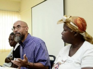 From left: Marjorine Hinds, Lloyd D'Aguilar and Adina Darby at the press conference yesterday.