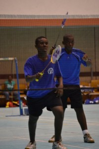 Sabeel Foster (foreground) and Cory Fanus during their doubles match against D'Andre Thorpe and Derion Hurley.