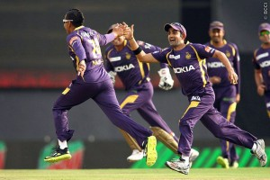 Sunil Narine (left) and team-mates celebrate after his hat-trick today.