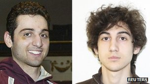 Bombing suspects Dzhokhar Tsarnaev (right) and brother Tamerlan Tsarnaev.