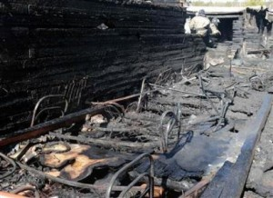 Burnt hospital beds make up the rubble from the hospital fire.
