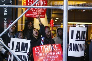 Fast food workers take protest action in New York today.