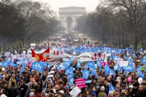 French protesters rally against same- sex marriage.