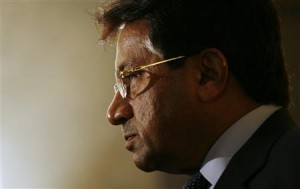File photo shows former Pakistan President Pervez Musharraf meeting journalists after attending the CLSA Investors Forum in Hong Kong