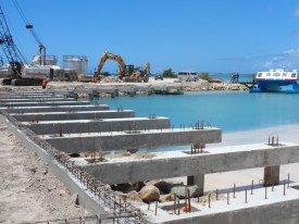 Barbuda River Wharf Dock during construction.