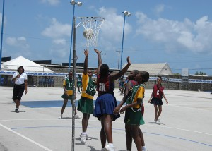 Boscobel Primary's goal attempt is defended by Sharon Primary's goal-keep.