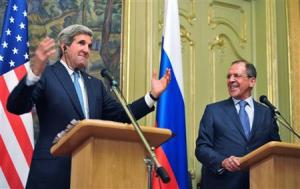 US Secretary of State John Kerry (left) and Russian Foreign Minister Sergei Lavrov take part in a joint news conference after their meeting in Moscow yesterday.