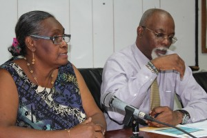 DEM Director Judy Thomas and Met Office Acting Director Hampden Lovell at the briefing.