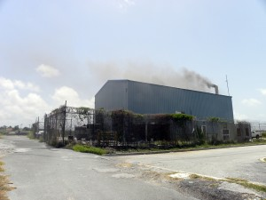 Smoke rises from the furnace where tens of millions of dollars in drugs were destroyed today.