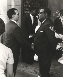 Former Prime Minister Errol Barrow in discussion with then colleague Edward Seaga of Jamaica.