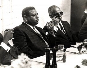 Former Prime Minister of Barbados Errol Barrow and the Prime Minister of Trinidad and Tobago Dr. Eric Williams.