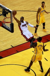 The previously anonymous Dwyane Wade (with ball) had 21 points for the Heat last night.