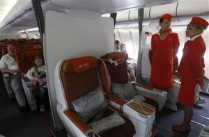 People sit onboard an Aeroflot Airbus A330 heading to the Cuban capital Havana at Moscow's Sheremetyevo airport
