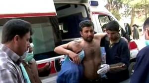 Injured Syrian arrives at hospital for medical attention.