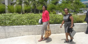 President of the Barbados Investors and Policyholders Alliance June Fowler (left) after the CLICO case adjourned today.