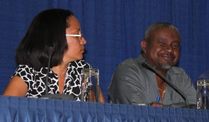 Dr. Kenneth George and Rachel Harris at last night's forum.