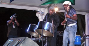 One pounded the pan, the other bent the guitar, but when Len Boogsie Sharpe and Nicholas Brancker climbed the stage of Pan Fusion last night it was a beautiful blend of Trinidad and Barbados making mighty music.