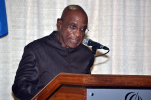 Central Bank of Barbados Governor, Dr. DeLisle Worrell (FP)