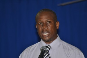 President of the Barbados Union of Teachers Pedro Shepherd making a point during the opening ceremony