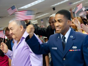 Terrico Cadogan, an Air Force reservist originally from Barbados, celebrates at his naturalization ceremony on July 2 in New York. (Courtesy of U.S. Citizenship and Immigration Services)