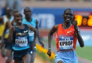 Asbel Kiprop of Kenya wins the 1500m race in front of Mo Farrah of Great Britain at the Herculis International Athletics Meeting today.