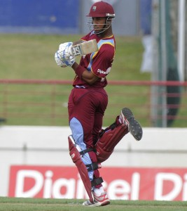Man-of-the Match Lendl Simmons on the go during his vital half-century.