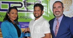 Sharda Veeren-Chand of DDL, Ramnaresh Sarwan and CPL commercial director Jamie Stewart.