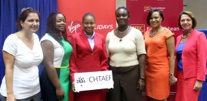 The BHTA's Sue Springer (right) with First Caribbean's Donna Wellington (second from right) and Virgin Holidays' Caroline Gallichan and Shontelle Edwards (left and third from left) with two of the Barbadian 2013 CHTAEF winners Deidre Small (second from left) and Christine Gibson (third from right).