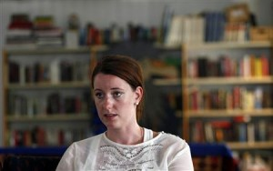 Norwegian interior designer Marte Deborah Dalelv, who reported being raped, speaks during an interview with Reuters at the Norwegian Seamen's Center in Dubai