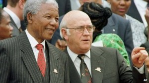 A file photo of Nelson Mandela and FW de Klerk